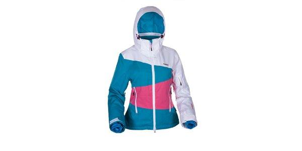Dámska snowboardová bunda v bielo-modro-ružovej farbe Envy