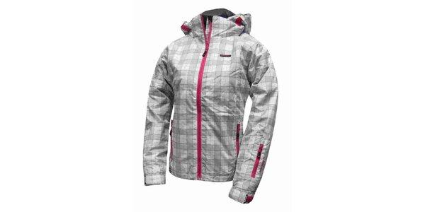 Dámska zimná kockovaná bunda s ružovými lemami Envy