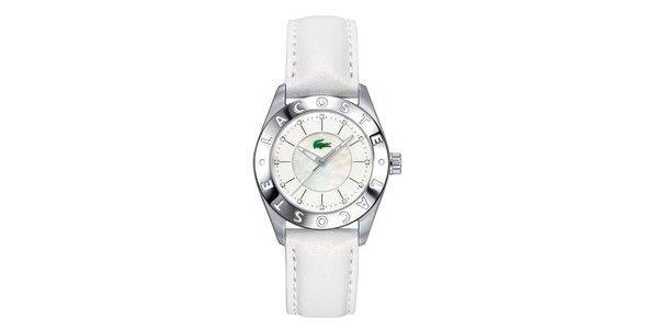 Dámske hodinky s bielym koženým remienkom Lacoste