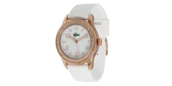 Dámske hodinky s bielym silikónovým remienkom Lacoste