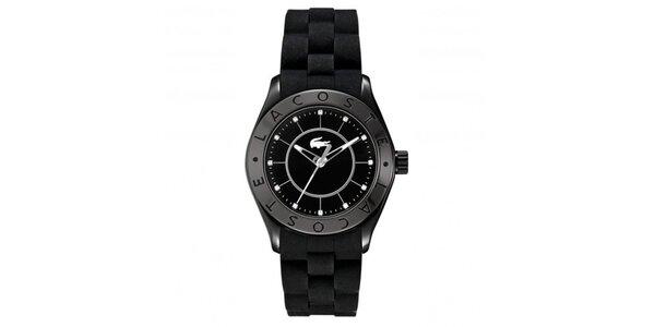 Dámske čierne hodinky so silikónovým remienkom Lacoste