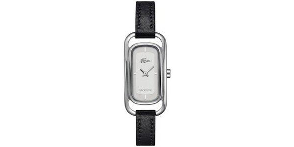Dámske obdĺžnikové hodinky s čiernym remienkom Lacoste
