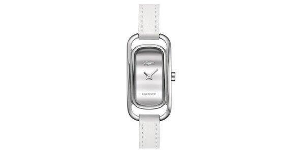 Dámske obdĺžnikové hodinky s bielym remienkom Lacoste