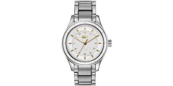 Dámske hodinky z nerezovej ocele so zlatými prvkami Lacoste