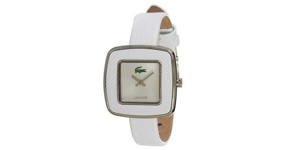 Dámske biele hodinky s hranatým ciferníkom a zeleným logom Lacoste