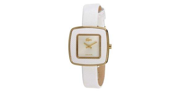 Dámske biele hodinky s hranatým ciferníkom a zlatým logom Lacoste