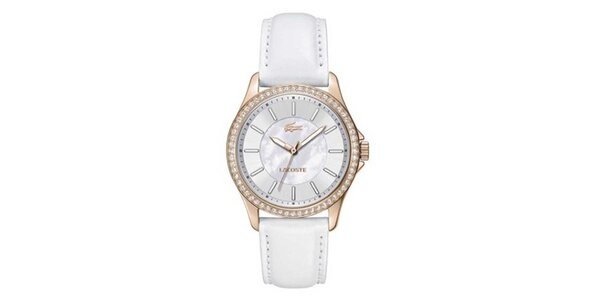 Dámske biele hodinky s malými kryštálikmi Lacoste