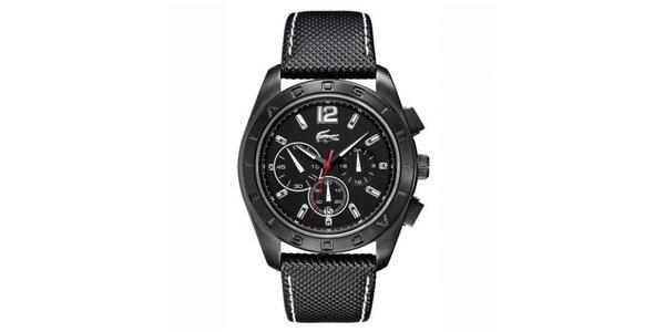 Pánske hodinky s čiernym koženým prešívaným remienkom Lacoste