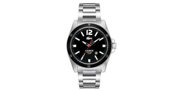 Pánske hodinky z nerezovej ocele s čiernym ciferníkom Lacoste