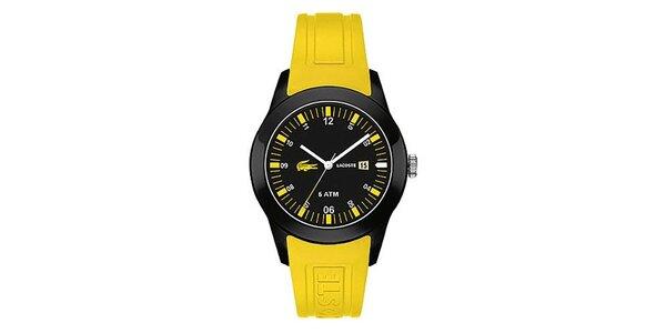 Pánske hodinky so žltým remienkom Lacoste