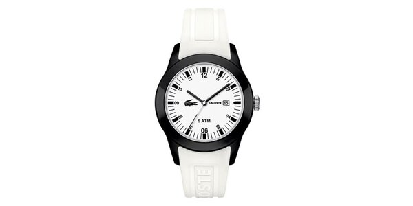 Pánske hodinky s bielym remienkom Lacoste