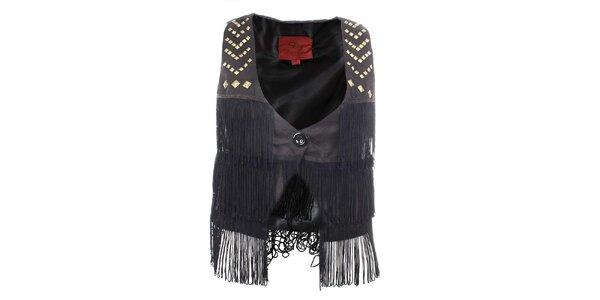 Dámska čierna vestička so strapcami Dislay DY Design