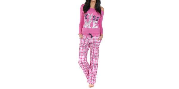 Dámske pyžamo Playboy - ružové tričko a kockované nohavice
