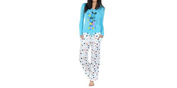 Dámske pyžamo Playboy - modré tričko a biele nohavice s bodkami