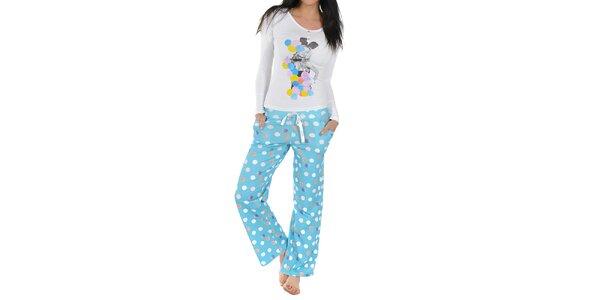 Dámske pyžamo Playboy - biele tričko a modré nohavice s bodkami