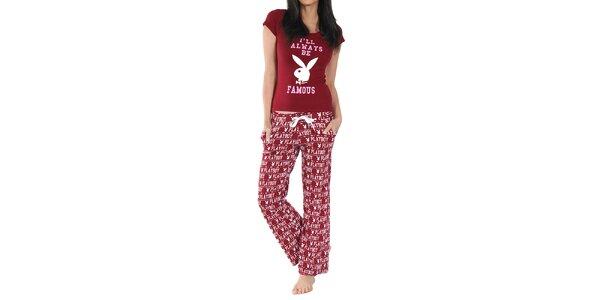 Dámske pyžamo Playboy - bordó tričko a nohavice
