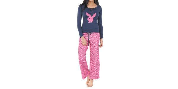 Dámske modro-ružové pyžamo Playboy