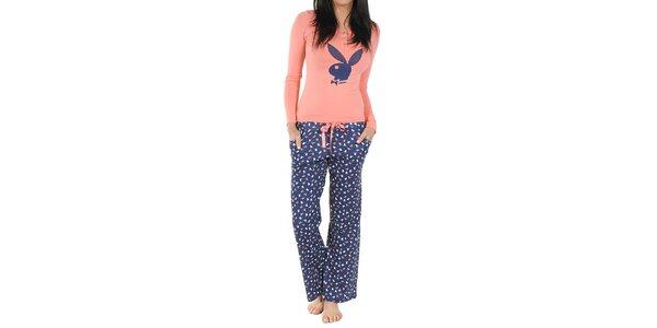 Dámske modro-broskyňové pyžamo Playboy