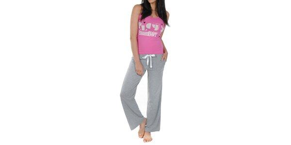 Dámske ružovo-šedé pyžamko s tielkom Playboy