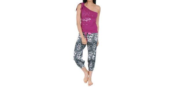 Dámske pyžamo Playboy - fuchsiový top a vzorované nohavice