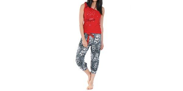 Dámske pyžamo Playboy - červený top a vzorované nohavice