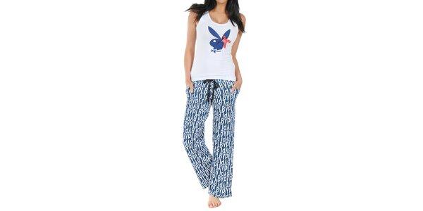 Dámske pyžamo Playboy - tielko s mašličkou a dlhé modré nohavice s potlačou