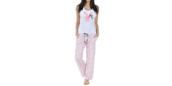 Dámske pyžamo Playboy - tielko s mašličkou a dlhé ružové nohavice s potlačou