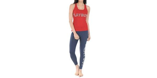 Dámske pyžamo Playboy - červené tielko a modré legíny s leoparďou potlačou