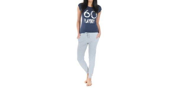 Dámske pyžamo Playboy - tmavo modré tričko s potlačou a dlhé šedé nohavice