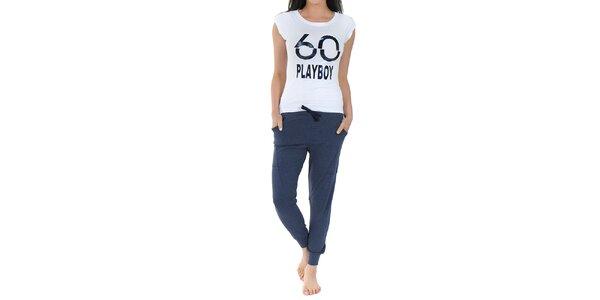 Dámske pyžamo Playboy - biele tričko s potlačou a dlhé modré nohavice