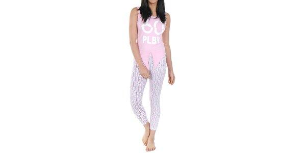 Dámske pyžamo Playboy - svetlo ružové tielko a legíny s potlačou Playboy