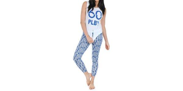 Dámske pyžamo Playboy - tielko a modré legíny s potlačou Playboy