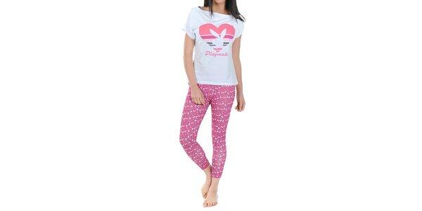 Dámske pyžamo Playboy - biele tričko a ružové legíny s potlačou Playboy