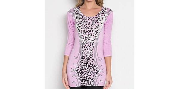 Dámska svetlo ružová tunika so vzorom Imagini