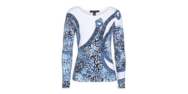 Dámsky biely svetrík s potlačou a modrými kamienkami Imagini