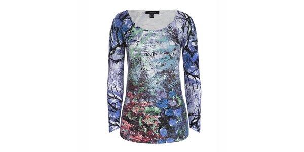Dámsky modrý svetrík s farebnou potlačou stromov a listov Imagini