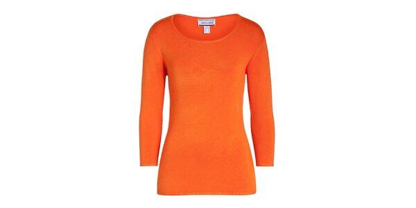 Dámsky oranžový svetrík s 3/4 rukávom Imagini
