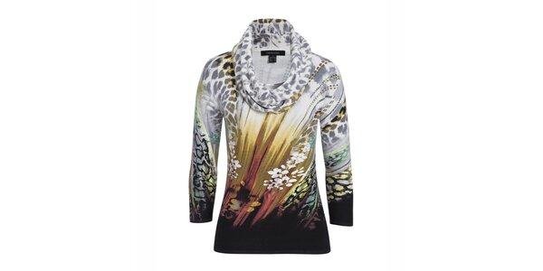 Dámsky farebne vzorovaný svetrík s leoparďou šatkou Imagini