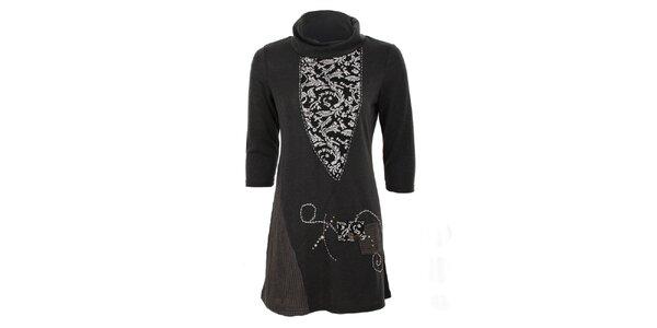 Dámske šedé šaty so vzorom Sugar Crisp