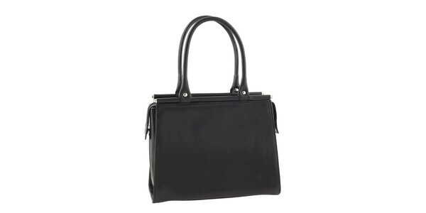 Dámska čierna kožená kabelka s ozdobným strapcom Classe Regina