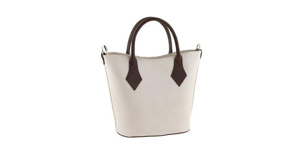 Dámska biela kožená kabelka s kontrastnými pútkami Classe regina