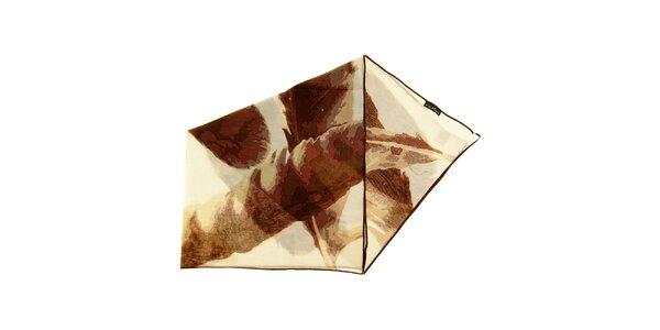 Dámska hnedo-biela bavlnená šatka Fraas