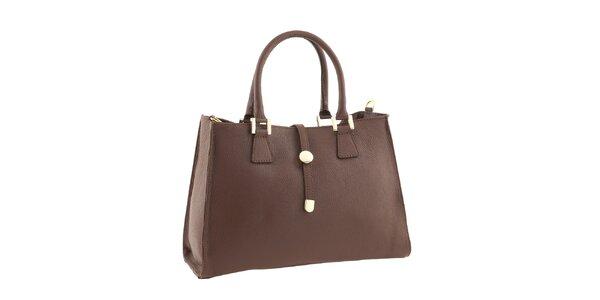 Dámska kožená kabelka vo farbe koňaku Classe Regina