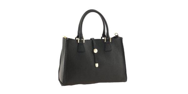 Dámska kožená kabelka v čiernej farbe Classe Regina