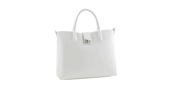 Dámska biela obdĺžniková kabelka z kože Classe Regina