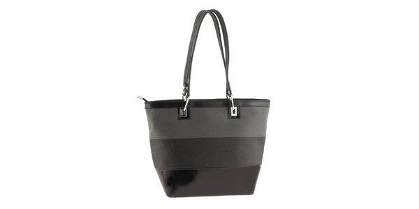 Dámska šedo-čierno pruhovaná kabelka Classe Regina