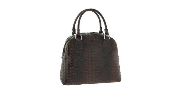 Dámska koňakovo hnedá kabelka s krokodílim motívom Classe Regina