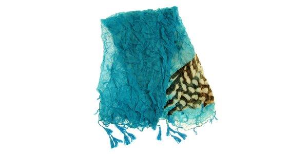Dámska tyrkysová šatka so vzorom Fraas