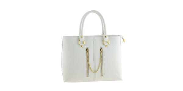 Dámska biela kožená kabelka s ozdobnou retiazkou Classe Regina