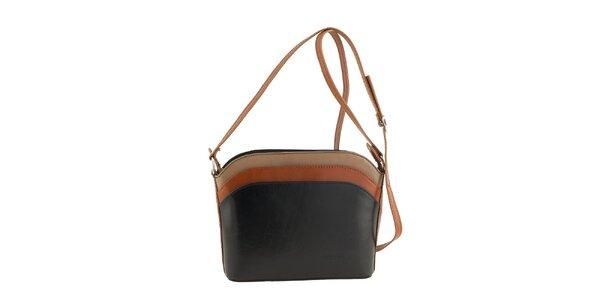 Dámska čierna kabelka kontrastnými prvkami Classe Regina